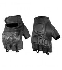 Mens Black Leather Sporty Fingerless Gloves w Hard Knuckles