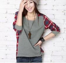 Women Plaid Checked Gray Casual Loose Long Sleeve T-shirt Tops Blouse Asymmetric