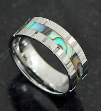 1 Pc Abalone Center Inlay Tungsten Carbide band ring w/ Grooved Edge Sz 10,11,12