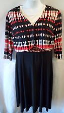 Danny & Nicole Sz 14 or 18 Women's 2-Piece Dress Jacket Mid-Calf Red Black 651-2