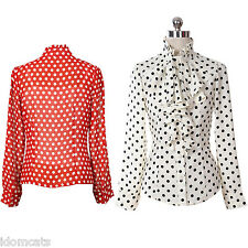 NEW Polka Dot Blouse Ladies Party Long Sleeve Shirt Womens Rockabilly Top Size