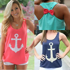 new Womens Summer Anchor Vest Top Sleeveless Blouse Casual Tank Tops T-Shirt