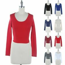 Scoop Neck Solid Plain Long Sleeve Cropped Top Casual  Easy Wear Cotton S M L