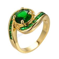 Size 7/8/9 Green Emerald Crystal Wedding Ring Women's 10Kt Yellow Gold Filled