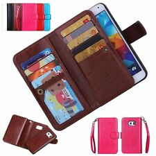 Flip PU Leather Wallet Card Holder Phone Case Cover for iPhone & Samsung Galaxy