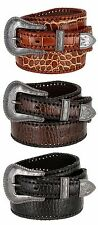 Mens Alligator Embossed Genuine Leather Western Cowboy Jean Casual Belt