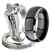 3 Pcs Her .925 Sterling Silver & His Black Tungsten Bridal Wedding Ring Band Set