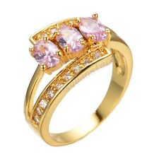 Jewelry Ring Size 6/7/8/9 Pink Sapphire Crystal Women's Yellow Gold Filled Gift
