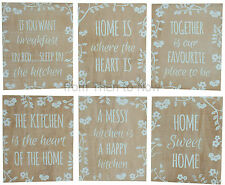 Wooden Plaque Blue Floral Chic & Shabby Distressed Vintage Wood Wall Door Sign