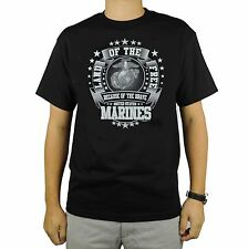 US Marines T-Shirt Black Land of the Free Brave United State America Stars