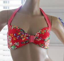 BILLABONG  Ladies sizes Red Hot Bouquet Gingham Bikini TOP Tropical Flowers BNWT