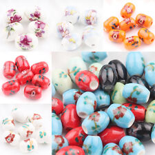 5/10Pcs Ceramic Porcelain Loose Spacer Beads Flower Pattern Charms DIY Crafts