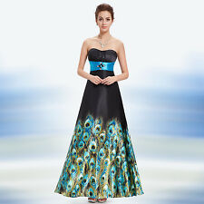 Strapless Rhinestones Blue and Black Animal Printed Maxi Evening Dress 09622
