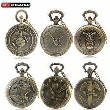Vintage Eagle Hawk US Army Quartz Pocket Watch Necklace Pendant Chain Mens Gift