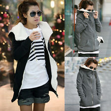 Womens Fleece Long Sleeve Solid Color Coat Hooded Hoodie Jacket Sweater Outwear
