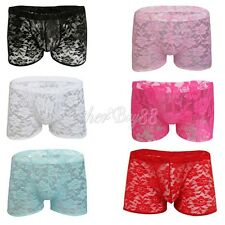 Sexy Men's Underwear Brief Lace Sheer See Through Boxer Trunks Underpants Shorts