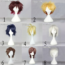 Short Straight Layered Unisex Hair Stylish Halloween Anime Cosplay Wig With Cap