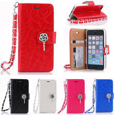 Bling Crystal Card Holder Leather Wallet Case Flip Cover W/strap Fr Apple iPhone