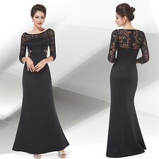 Women's Elegant Long Sleeve Lace Maxi Evening Formal Party Dress 08419