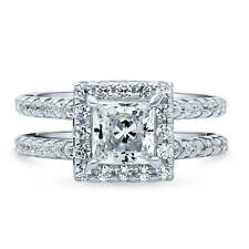 BERRICLE Sterling Silver Princess Cut CZ Halo Engagement Ring 2.04 Carat