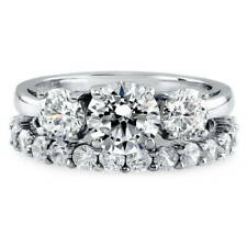 BERRICLE Sterling Silver Round CZ 3-Stone Engagement Ring Set 3.64 Carat