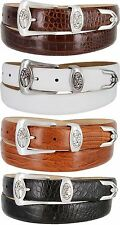 Monterey - Mens Genuine Leather Italian Calfskin Golf Conchos Dress Belt, 1-1/8""