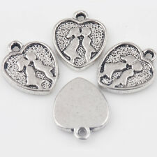 15/30Pcs Tibet Silver Couples Kissing Carved Charms Heart Pendant DIY 14*11mm