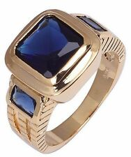 Size:10 11 Jewelry Generous 10KT Yellow Gold Filled Men's Sapphire Ring