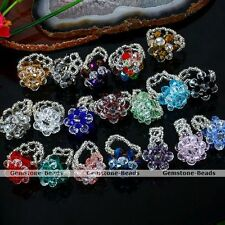 Womens Crystal Glass Faceted Bead Knitted Flower Finger Ring Size US7 Party Gift