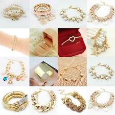 Moda Donne Lotti Monili dell'oro Stile Strass Bangle fascino Bella Bracciale