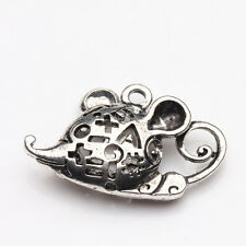 2/5Pcs Tibetan Silver Carved Mouse Shaped Charms Pendants Jewelry Crafts 32*20mm