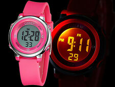 LED Light Quartz Digital Rubber Band Sport Casual Watch for Kids Boy Girl Colors