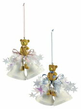 Weiste Teddy Bear on Bells Christmas Tree Decoration in Pink or Blue NEW