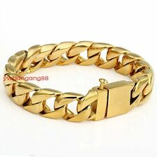 Cool Yellow Gold Curb Cuban Chain 316L Stainless Steel Men's Fashion Bracelet
