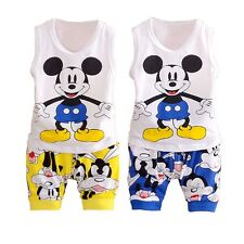 2pcs Baby Kids Boys Clothing Mickey Mouse Cotton Tops T-shirt Shorts Set Outfits