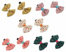 Zest 2 Hair Clips Slides with Spotty Grosgrain Ribbon Bow