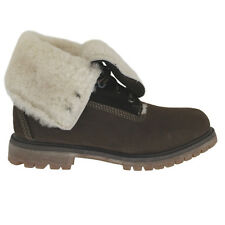 Timberland Roll Top Shearling Womens Boot Brown Leather Lace Up 83385 U8