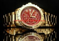 Invicta Mens II Collection Red Dial Chrono 18KT Gold-Plated SS Bracelet Watch