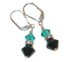 BLUE ZIRCON Teal & JET BLACK Crystal Earrings Sterling Silver Swarovski Elements