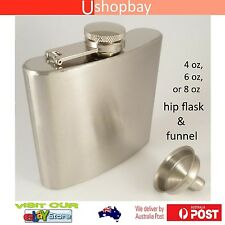 Hip Flask Pocket Liquor Alcohol Dad Whiskey Wine Bottle + Funnel Stainless Steel