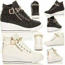 NEW LADIES WOMENS HI TOP WEDGES BUCKLE CHAIN ANKLE TRAINERS SHOES PLATFORM BOOTS