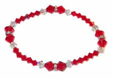 Stretch-on LIGHT SIAM RED Crystal Bracelet Swarovski Elements