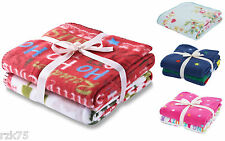 Twin Pack Fleece Throws, Printed Design Soft Throws Blankets, 120 x 150 cm