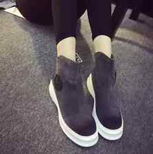 Women Flat Heel Sweet Round Toe Fashion Solid Color Casual Lady Chelsea Boots