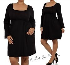 PLUS SIZE FLUTTER BELL SLEEVE RUFFLE LITTLE BLACK MINI DRESS MINIMALIST 1X 2X 3X