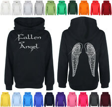 Ladies Fallen Angel with Wings Hooded Diamante hoodie top FREE Personalisation