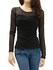 Women See Through Meshy Long Sleeve Solid Pullover Shirt