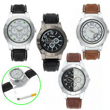 Sporty Quartz Watch with USB Electronic Rechargeable Windproof Cigarette Lighter