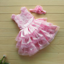 2Pcs Set Baby Girl Infant Outfits Tutu Skirt Rose Flowers Dress + Headband 6-24M