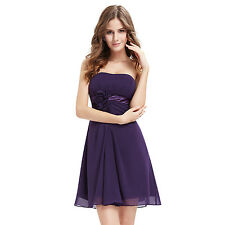 Women's Flowers Strapless Short Chiffon Coktail Party Formal Dress 03538